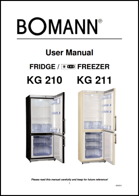 Bomann KG 210, KG 211 User's Manual