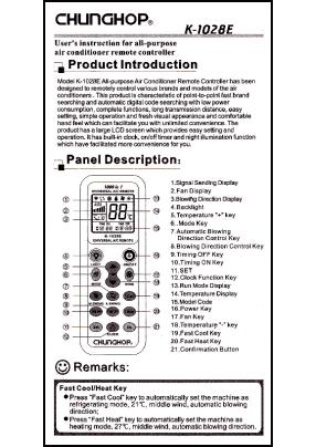 Chunghop K-1028E Инструкция пользователя + Список кодов устройств