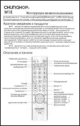 Chunghop M1E Инструкция пользователя + Список кодов устройств