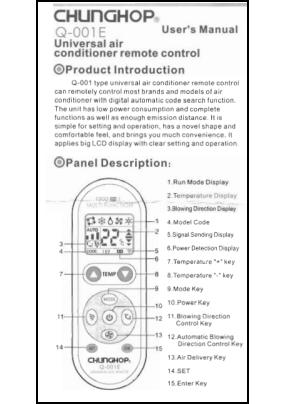Chunghop Q-001E Manual del Usuario + Codes