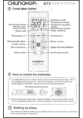 Chunghop Q1E Инструкция пользователя + Список кодов устройств