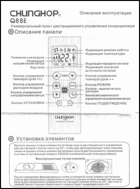 Chunghop Q88E Инструкция пользователя + Список кодов устройств