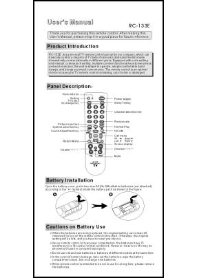 Chunghop RC-133E Manual del Usuario + Codes