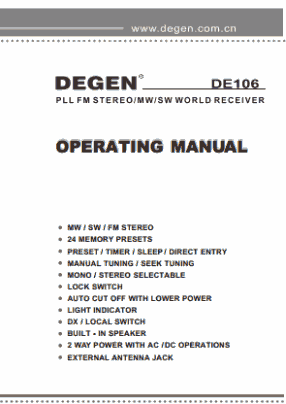 Degen DE106 User's Manual