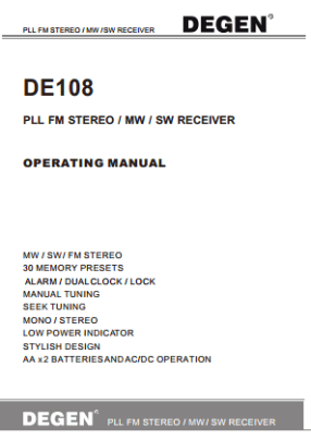 Degen DE108 User's Manual