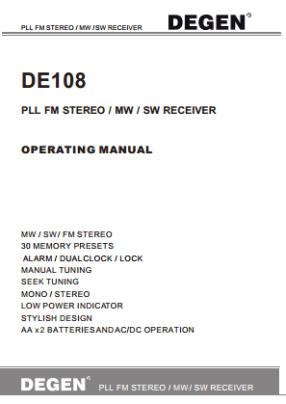 Degen DE108 Руководство пользователя