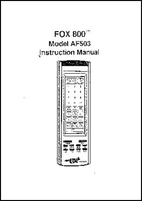 Fox 800-AF503 Руководство пользователя