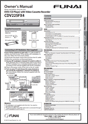 Funai CDV225FX4 User's Manual