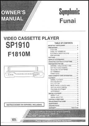 Funai F1810M User's Manual