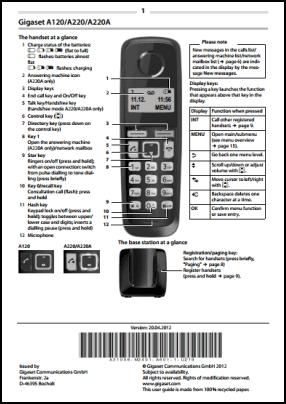 Gigaset A120, A120A, A220, A220A Руководство пользователя