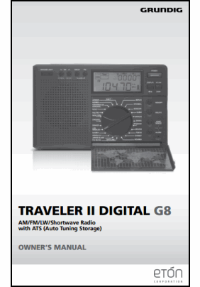 Grundig Traveler II Digital G8 User's Manual