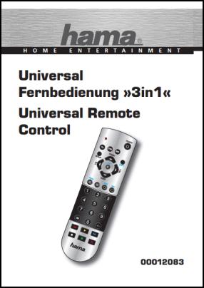 Hama 3 in 1 00012083 User's Manual + Code List