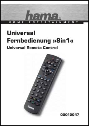 Hama 8 in 1 00012047 User's Manual + Code List