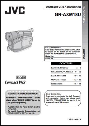 JVC GR-AXM18U Руководство пользователя