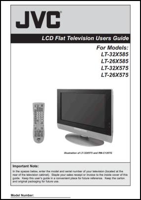 JVC LT-32X585, LT-26X585, LT-32X575, LT-26X575 Руководство пользователя