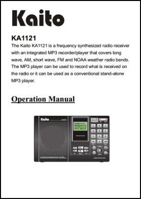Kaito KA1121 User's Manual + Quick Guide