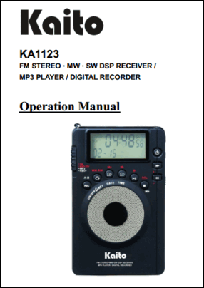 Kaito KA1123 User's Manual