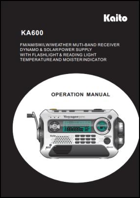 Kaito KA600 Руководство пользователя