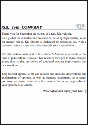 Kia Rio 2011 User's Manual