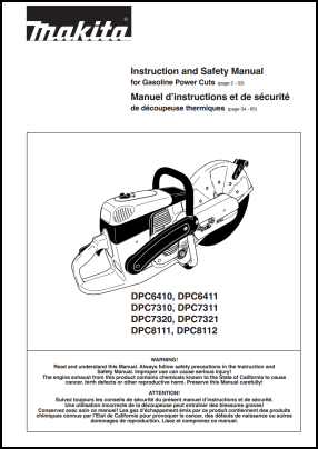 Makita DPC6410, DPC6411, DPC7310, DPC7311, DPC8111, DPC8112 User's Manual