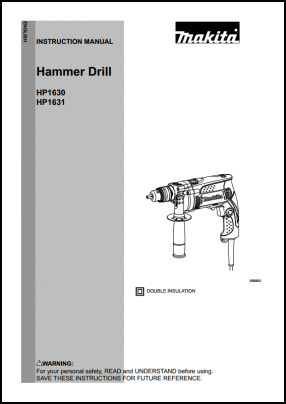 Makita HP1630, HP1631 User's Manual