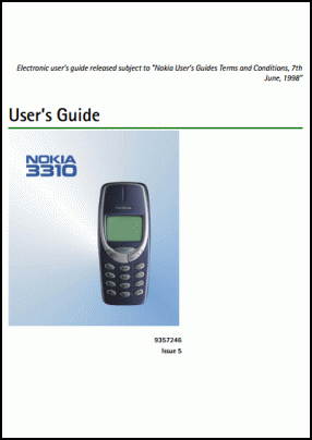 Nokia 3310 User's Manual
