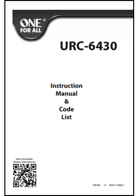 One For All URC-6430 User's Manual + Code List