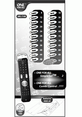One For All URC-7140 User's Manual + Code List