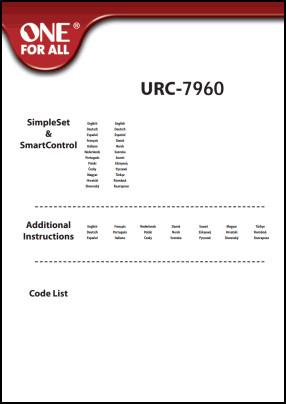 One For All URC-7960 User's Manual + Code List