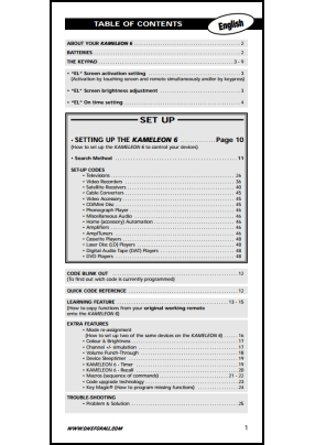 One For All URC-8206 User's Manual + Code List