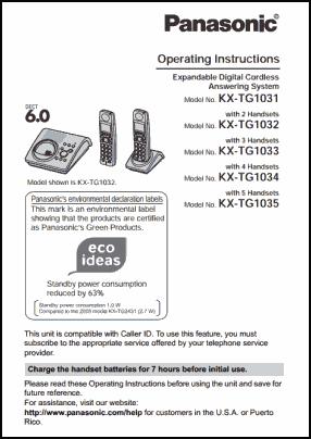 Panasonic KX-TG1031, KX-TG1032, KX-TG1033, KX-TG1034, KX-TG1035 User's Manual