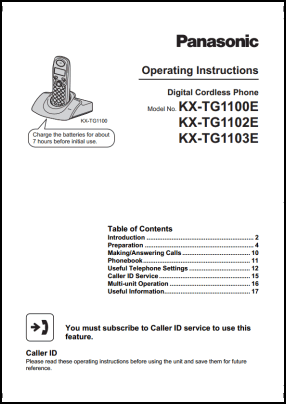 Panasonic KX-TG1100E, KX-TG1102E, KX-TG1103E User's Manual
