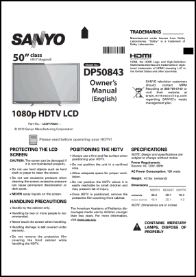 Sanyo DP50843 User's Manual