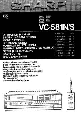 Sharp VC-581 Руководство пользователя