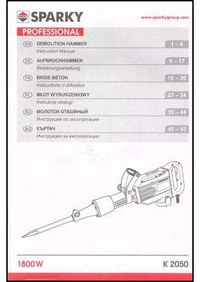 Sparky K 2050 User's Manual