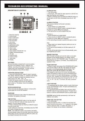 Tecsun DR-920 Руководство пользователя