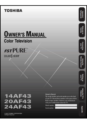 Toshiba 14AF43, 20AF43, 24AF43 User's Manual