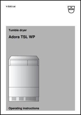 V-ZUG Adora TSL WP User's Manual