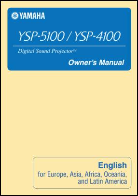 Yamaha YSP-4100, YSP-5100 Руководство пользователя