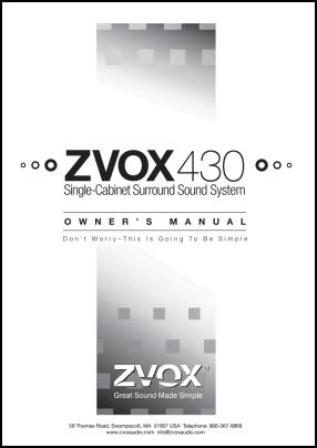 ZVOX 430 Руководство пользователя